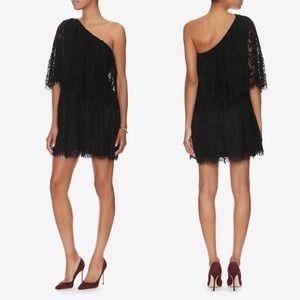 Alexis Maji One Shoulder Lace Black Dress